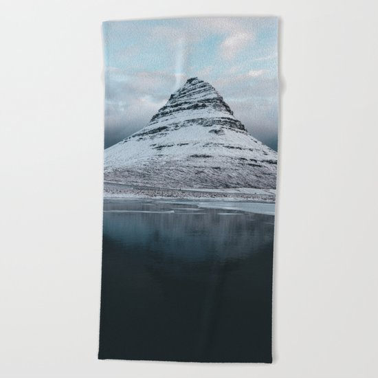 Iceland Mountain Reflection - Landscape Photography Beach Towel