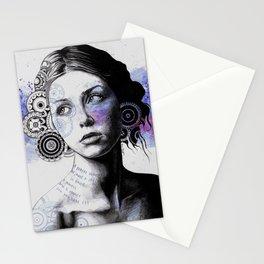 Ayil | vintage lady portrait | mandala doodles sketch) Stationery Cards