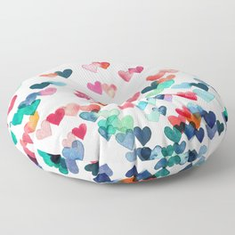 Heart Connections - watercolor painting Floor Pillow
