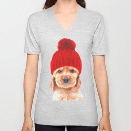 Cocker spaniel puppy with hat Unisex V-Neck