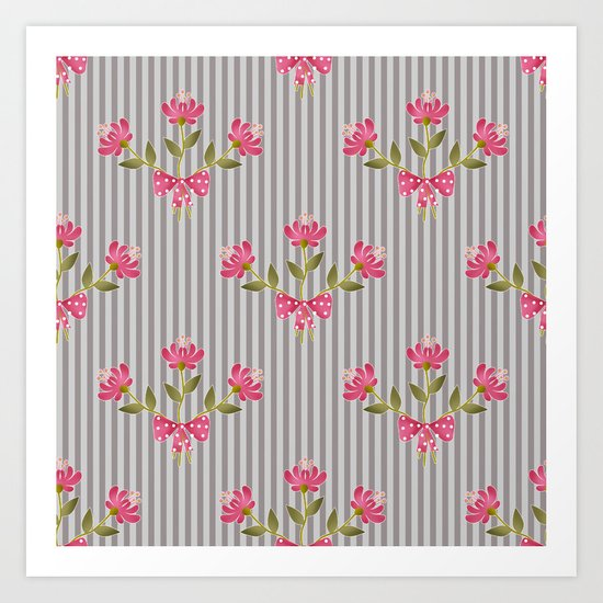 Flower bouquet on a gray striped background. Art Print