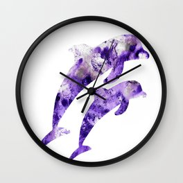 Abstract Art Purple Dolphins Wall Clock
