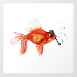 Goldfish with pipe and hat Art Print
