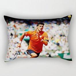 Novak Djokovic Tennis Chasing a Lob Rectangular Pillow