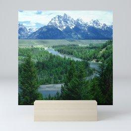 Grand Tetons Snow-Covered Mountains And Snake River Mini Art Print