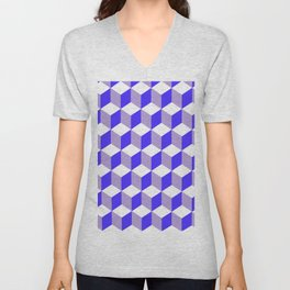 Diamond Repeating Pattern In Nebulas Blue and Grey Unisex V-Neck