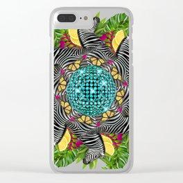 Disco zebra mandala Clear iPhone Case