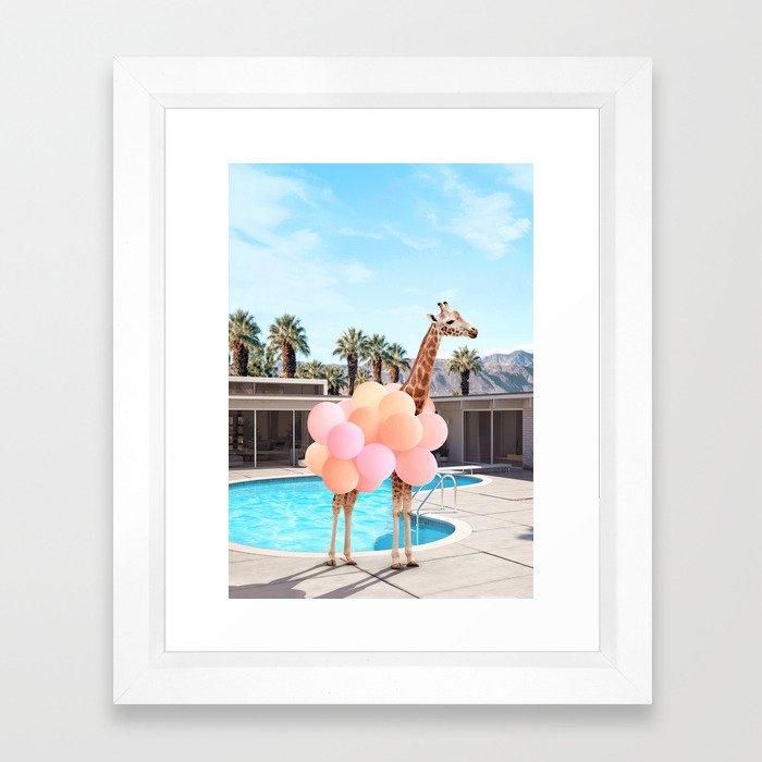 Giraffe Palm Springs Framed Art Print