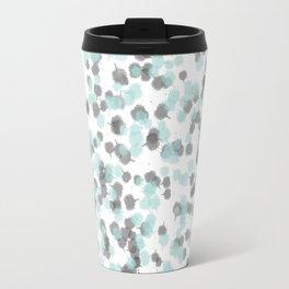 Teal and Grey Ink Drops Travel Mug