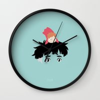 ponyo Wall Clocks featuring Ponyo, 2008 by Jarvis Glasses