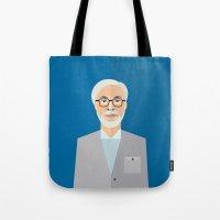 hayao miyazaki Tote Bags featuring Hayao Miyazaki by monscribbles