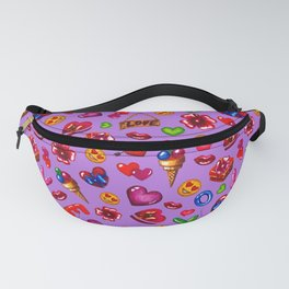 Pattern for valentines day on a purple background Fanny Pack