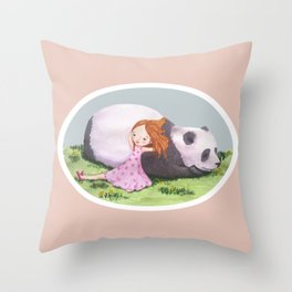 Giant Panda snuggles in the sunshine Throw Pillow