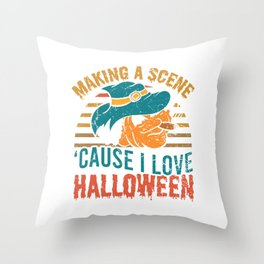 Making A Scene Cause I Love Halloween Spooky Scary Creepy T-shirt Design Witch Zombies Boo Candy Throw Pillow
