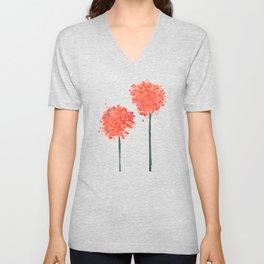 2 abstract geranium flowers Unisex V-Neck