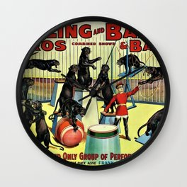 Ringling Bros and Barnum & Bailey Circus Black Leopards Vintage Poster Wall Clock