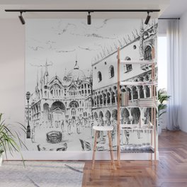 Sketch of San Marco Square in Venice Wall Mural