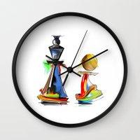 chess Wall Clocks featuring chess by tatiana-teni