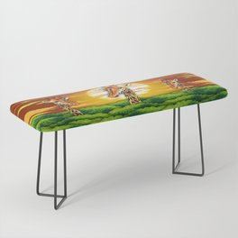 Giraffe on Wild African Savanna Sunset Bench
