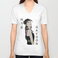 kpop V-neck T-shirts featuring C.R.A.Z.Y Gayoon by Ahri Tao