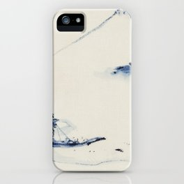 A Person in a Small Boat on a River with Mount Fuji in the Background by Hokusai iPhone Case