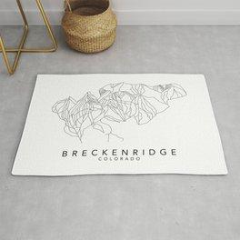 BRECKENRIDGE // Colorado Trail Map Black and White Lines Minimalist Ski & Snowboard Illustration Rug