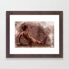 Nude woman watercolor vintage Framed Art Print