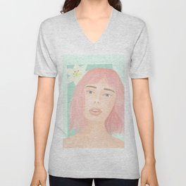 Pink hair girl Unisex V-Neck