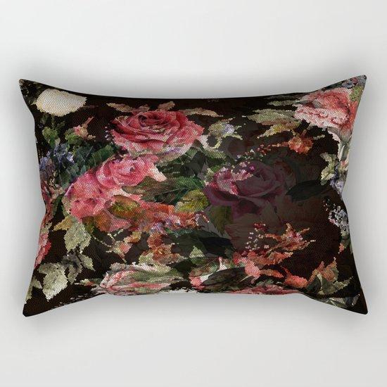 Dark Garden Pattern Rectangular Pillow