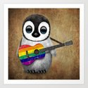 Baby Penguin Playing Gay Pride Rainbow Flag Guitar by jeffbartels