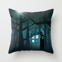 marauders Throw Pillows featuring Tardis in the Forest of The Night by neutrone