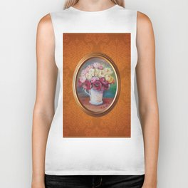 Bouquet of roses still life oil painting on damask pattern Biker Tank