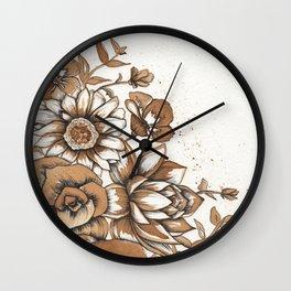 Coffee Art- Flowers Wall Clock