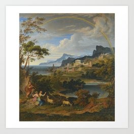 Joseph Anton Koch 1768-1839 GERMAN HEROISCHE LANDSCHAFT MIT REGENBOGEN (HEROIC LANDSCAPE WITH RAINBO Art Print