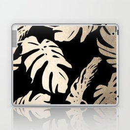 Simply Palm Leaves in White Gold Sands on Midnight Black Laptop & iPad Skin