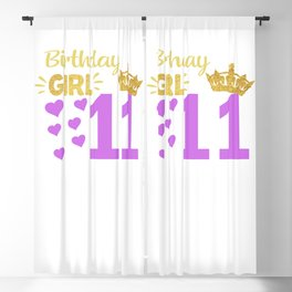 Happy Birthday Girly 11th Princess Pink with Crown 11 years old  Blackout Curtain