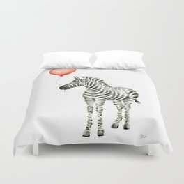 Baby Zebra with Red Balloon Duvet Cover
