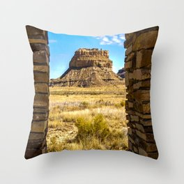 Faraday Butte at the Entrance to Chaco Canyon, New Mexico Throw Pillow