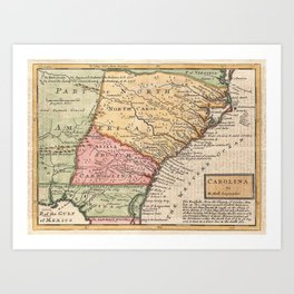 Vintage Map of The Carolinas (1746) Art Print