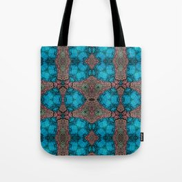 Brown and Blue Kaleidoscope Cells Tote Bag