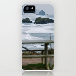 Haystack Rock view from Ecola 2 iPhone Case
