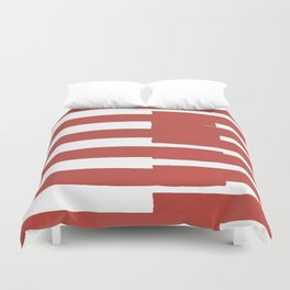 Big Stripes In Red Duvet Cover