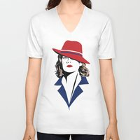 peggy carter V-neck T-shirts featuring Peggy Carter by Arne AKA Ratscape
