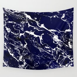 Modern Navy blue watercolor marble pattern Wall Tapestry