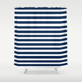 Navy-White ( Stripe Collection ) Shower Curtain