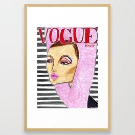 60's Beauty – Fashion Magazine Cover – Original Fashion art, Fashion Illustration, Fashion wall art Framed Art Print