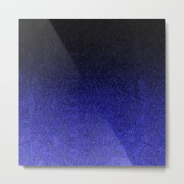 Blue & Black Glitter Gradient Metal Print