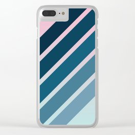 Classic Retro Stripes on Pink Blue Color Gradient Clear iPhone Case
