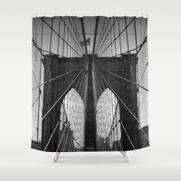 brooklyn bridge Shower Curtains featuring Brooklyn Bridge by Photos by Vincent
