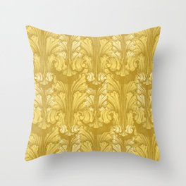 Yellow Gold Classic Acanthus Leaves Pattern Throw Pillow